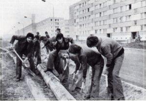 Subbotnik in der Leninallee (heute Hamburger Allee)
