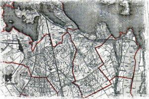 Meßtischblatt mit Einzeichnung der Gemarkungsgrenzen, letztes Viertel 19. Jahrhundert, Landesamt für Bodendenkmalpflege.